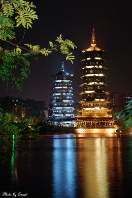 杭州超高层双塔高清图片夜景