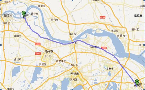 上海到张家港地图