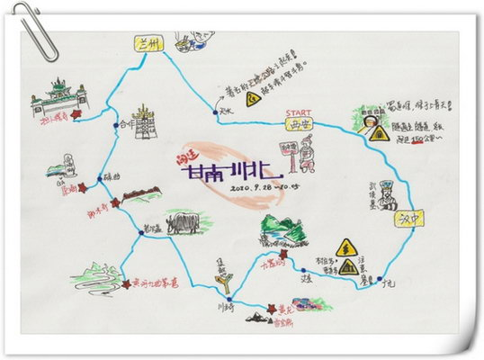 全程路线的手绘地图