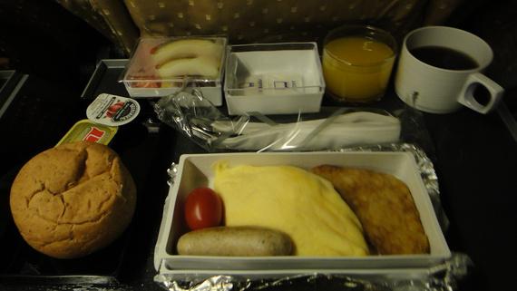 飞机上的西式早餐
